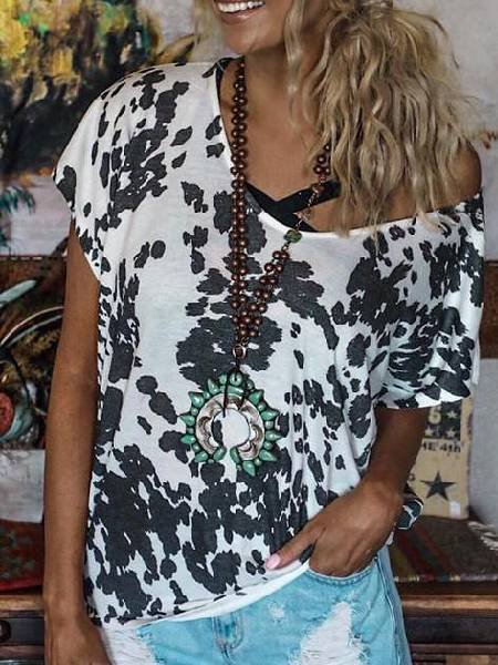 White-Black Short Sleeve V Neck Shirts & Tops
