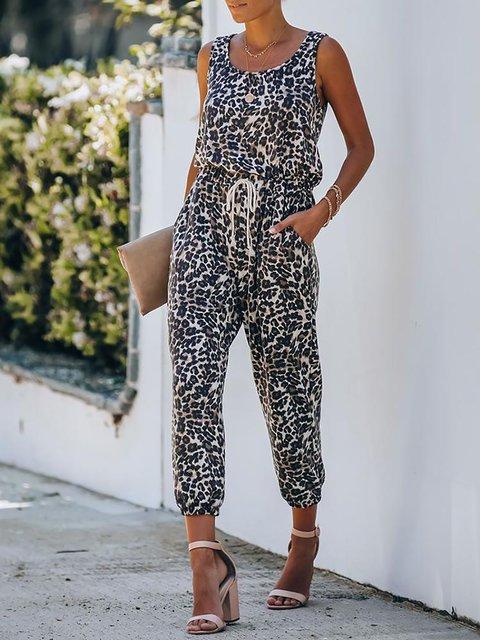 Leopard Print Tie Waist Casual Jumpsuit