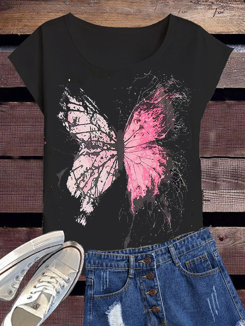Short Sleeve Casual Printed Animal Butterfly Shirts & Tops