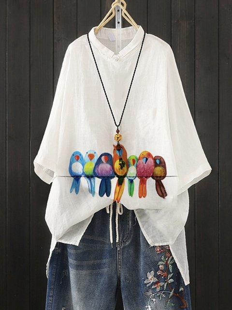 White Cotton-Blend Casual Bird Shirts & Tops