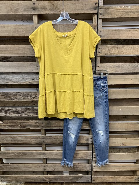 Yellow Short Sleeve V Neck Casual Shirts & Tops