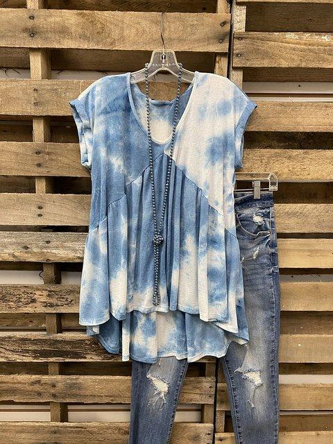 Blue Gradient Tie-dye Visual V-neck T-shirt