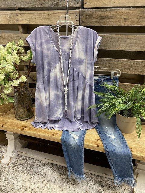 Purple Gradient Tie-dye Visual V-neck T-shirt