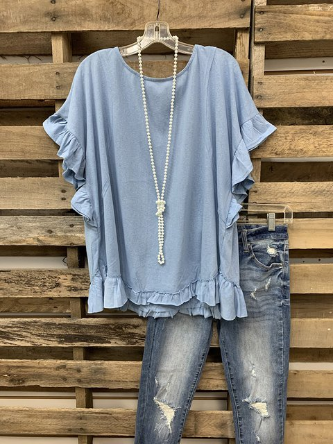 Sweet Top With Lotus Leaf Cuffs