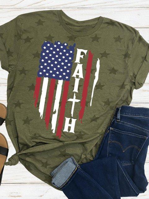 American Independence Day Flag Faith Star Print T-shirt