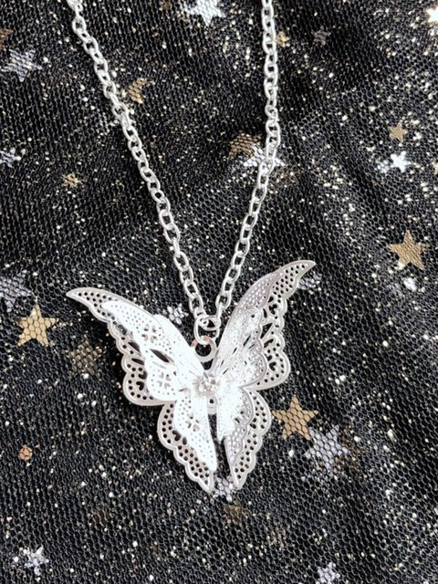 Hollow Butterfly Silver-plated Necklace