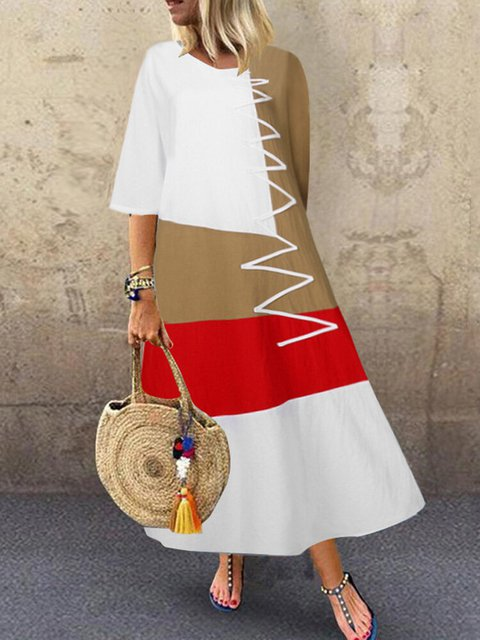 Casual Patchwork Half Sleeve Maxi Dress