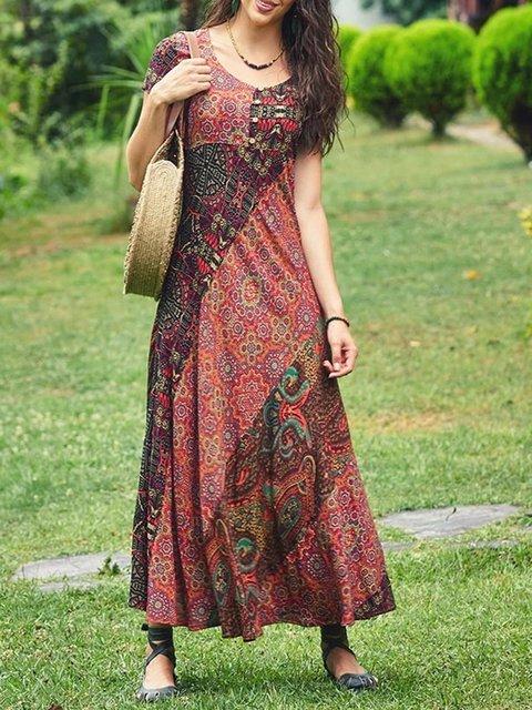 Summer Maxi Dress Plus Size Short Sleeve Boho Dresses
