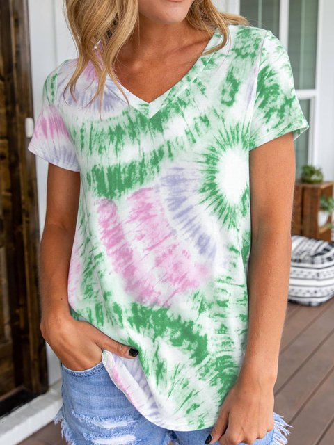 Casual Ombre/tie-Dye Short Sleeve Shirts & Tops