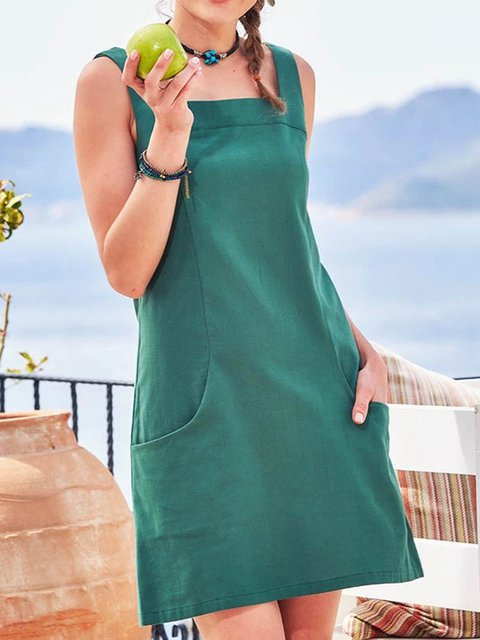 Spaghetti Pockets Mini Dress Summer Plus Size Solid Dresses