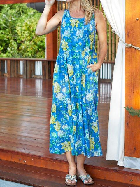 Floral Sleeveless Maxi Dress Summer Plus Size Pockets Dresses