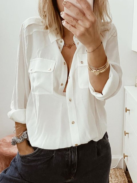White Cotton-Blend Simple Long Sleeve Shirts & Tops