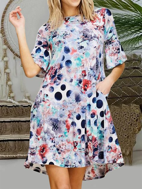 Floral Dot Printed Round Neck Bell Sleeve Dress