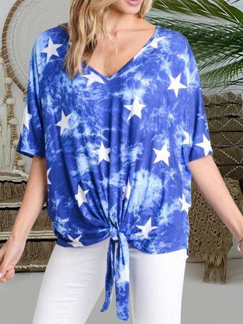 Tie Dye Star Print Front Knot V-Neck Tops