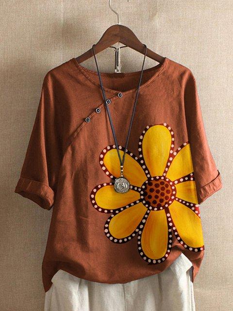 Coffee Floral Vintage Cotton-Blend Shirts & Tops