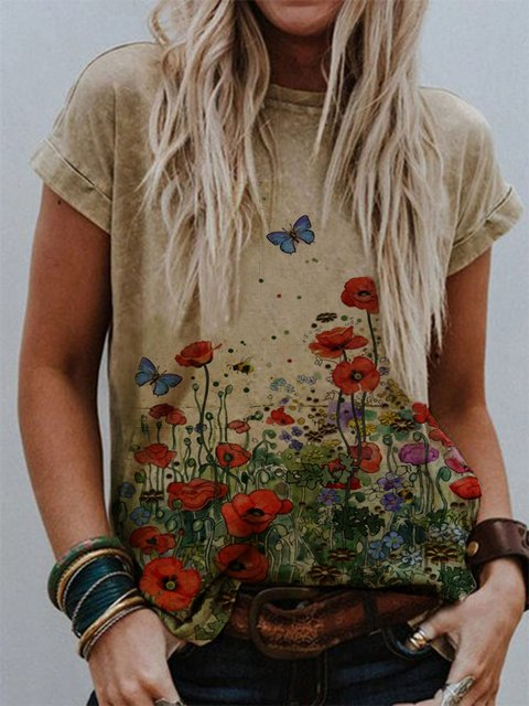 Khaki Short Sleeve Cotton-Blend Casual Shirts & Tops