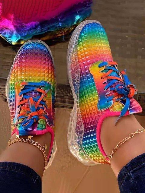 Pu Color Block Casual Sneakers