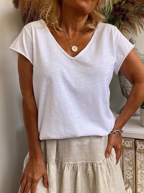 White Short Sleeve Casual Solid Shirts & Tops