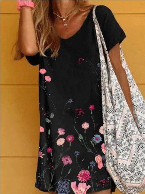 Black Short Sleeve Casual Printed Dresses