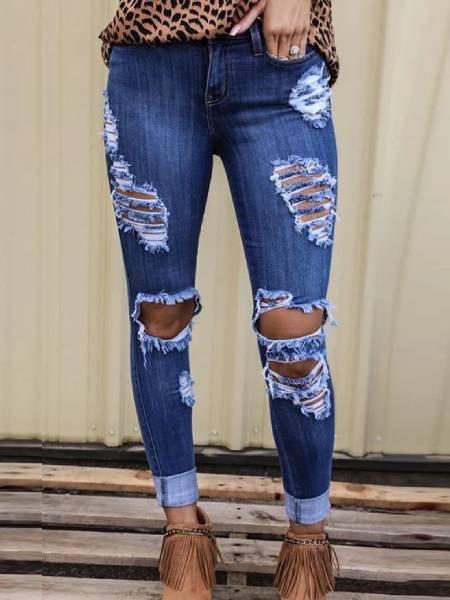 Blue Plain Sexy Sheath Pants