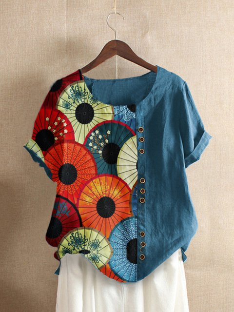 Blue Floral Cotton-Blend Short Sleeve Shirts & Tops