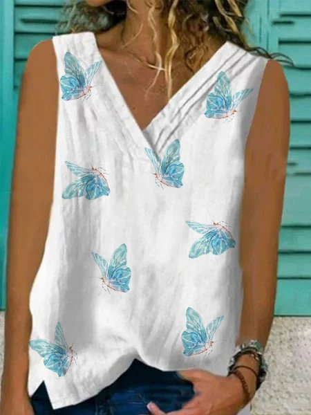 Sleeveless V Neck Cotton-Blend Shirts & Tops