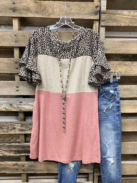 Pink Crew Neck Frill Sleeve Shirt & Top