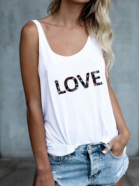 LOVE Letter Print Round Neck Casual Tank