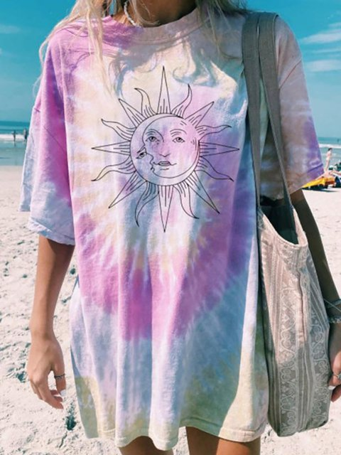 Moon & Sun Tie Dye Round Neck Casual T-Shirt