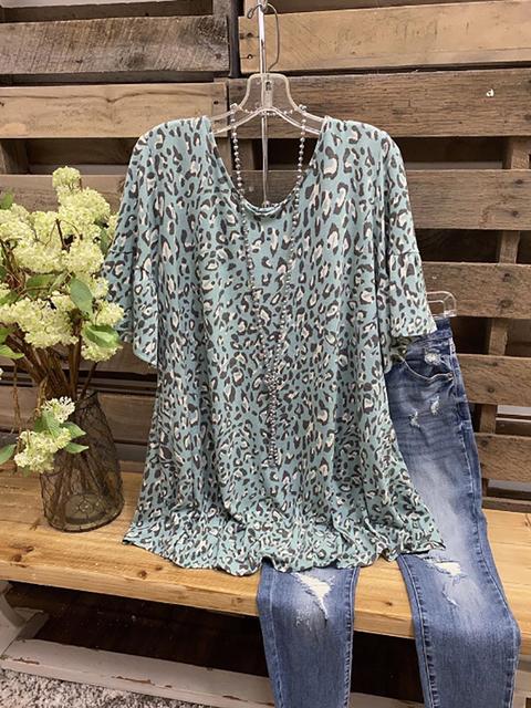 Green Casual Short Sleeve Shirts & Tops