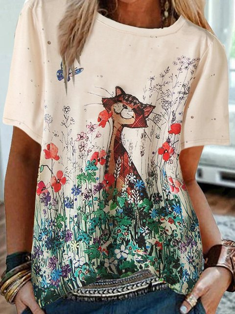 Floral Crew Neck Short Sleeve Tops