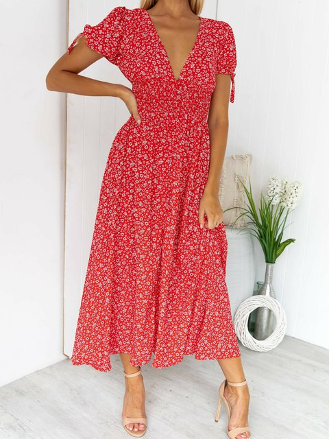 Red Casual Floral V Neck A-Line Dresses