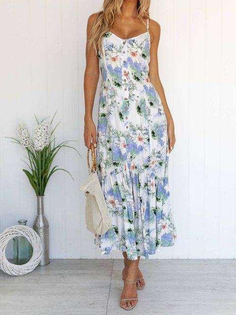 White Spaghetti Floral Shift Casual Dresses