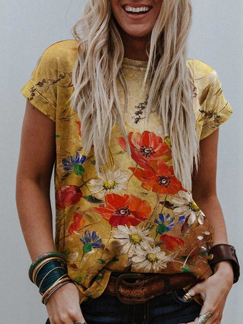 Yellow Short Sleeve Printed Cotton-Blend Casual Shirts & Tops