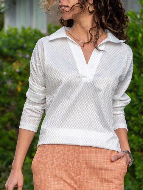 White Shift Long Sleeve Plain Casual Shirts & Tops