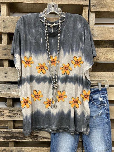 Gray Cotton-Blend Crew Neck Batwing Shirt & Top