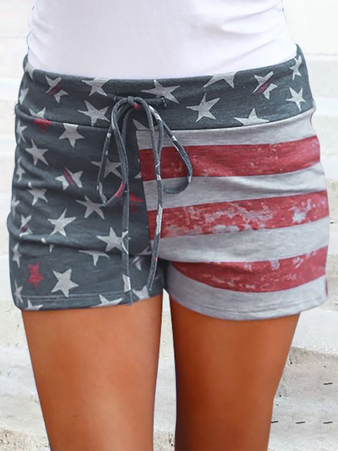Casual Stripe Star Printed Casual Shorts