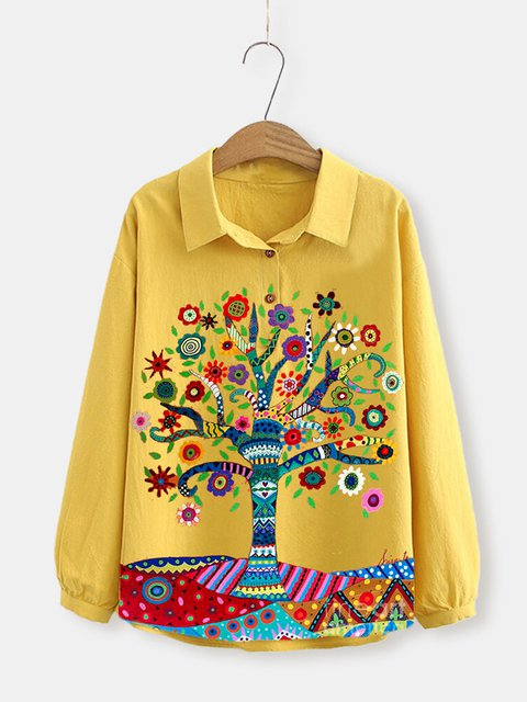 Yellow Pastoral Floral Cotton-Blend Shirts & Tops