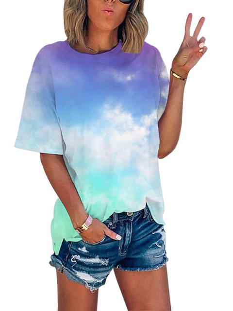 Casual Color-Block Short Sleeve Shirts & Tops