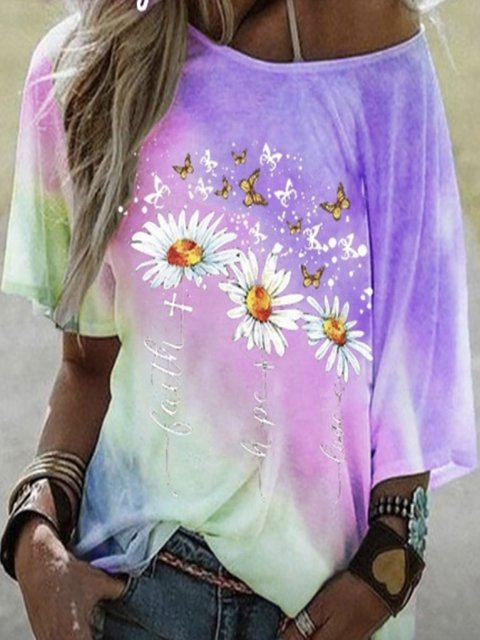 Casual Cotton-Blend Floral-Print Shirts & Tops