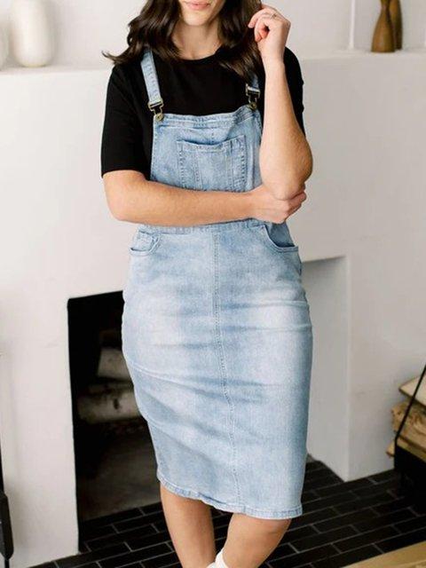 Blue Denim Casual Dresses