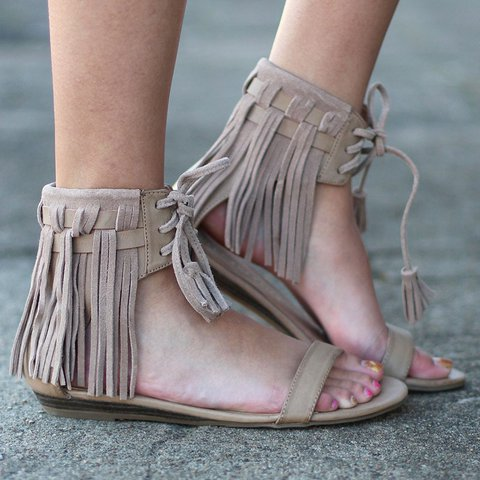 Tan Summer Lace-Up Artificial Leather Sandals