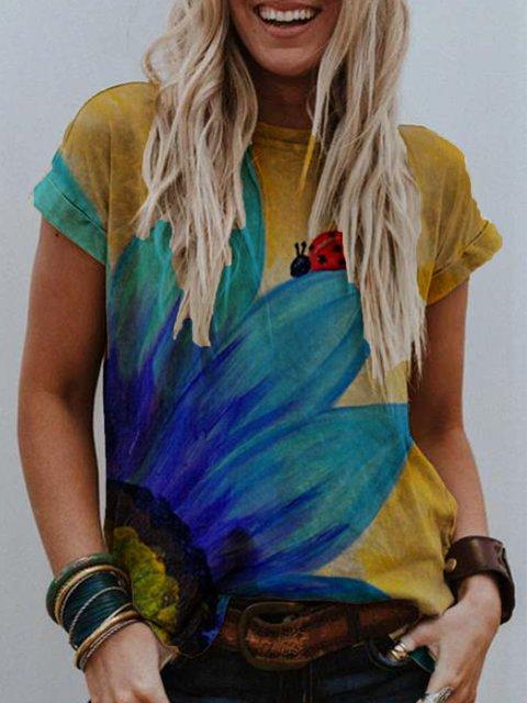 Yellow Round Neck Printed Short Sleeve Shirts & Tops