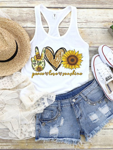 Casual Tank Top Round Neck Sleeveless Printed Vests