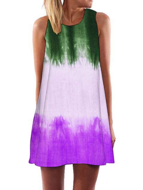 Crew Neck Sleeveless Color-Block Casual Dresses