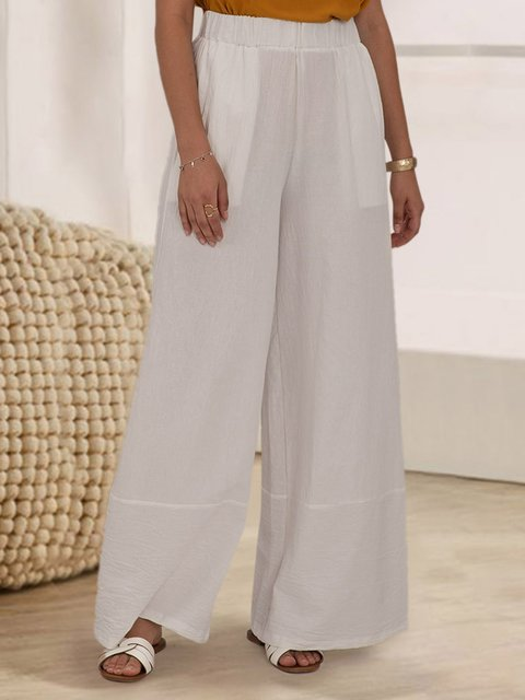White Casual Shift Solid Pant