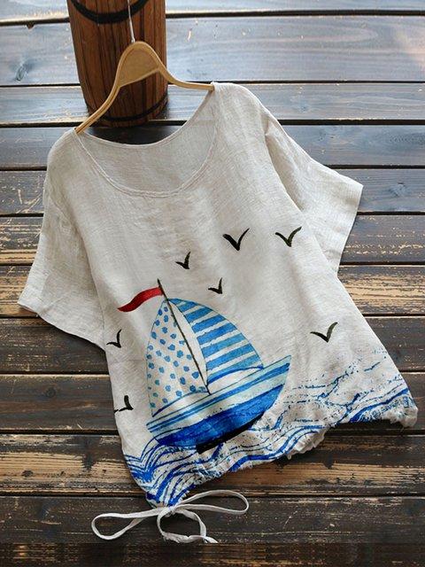 Khaki Cotton-Blend Vintage Shirts & Tops