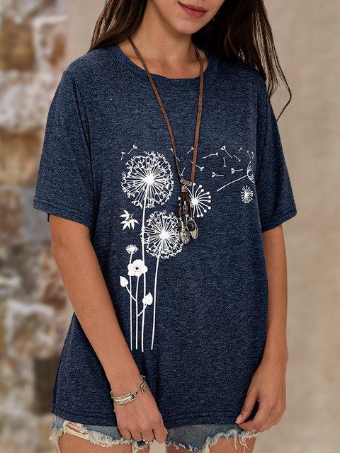 Blue Dandelion Shift Floral Casual Top