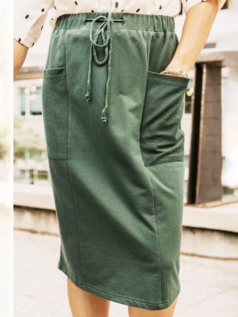 Olive Green Cotton-Blend Casual Plain Skirts