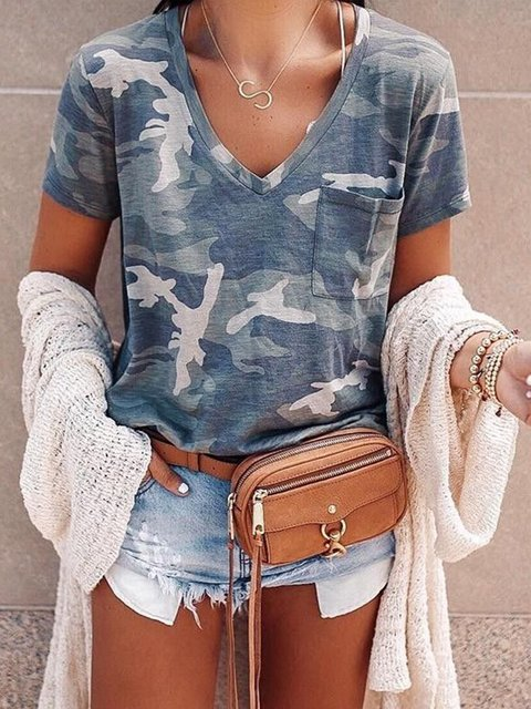 Green Printed Casual Short Sleeve Camouflage T-shirt